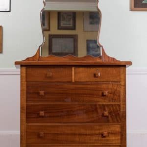 Vintage-curly-koa-bedroom-set-dresser-with-mirror-chest-of-drawers