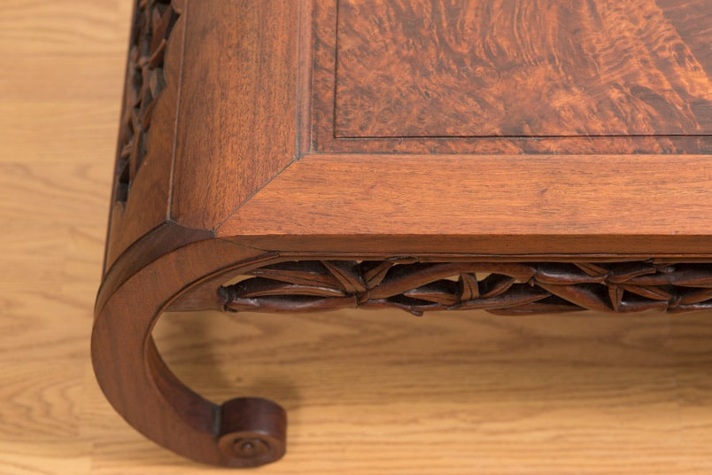 Chinese Scholar S Table With Bamboo Carved Skirt And Elm